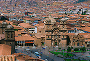La Compania Church and Plaza de Armas  square in Cuzco, the ancient capital of the Inca Empire, Peru, South America RESERVED USE - NOT FOR DOWNLOAD -  FOR USE CONTACT TIM GRAHAM