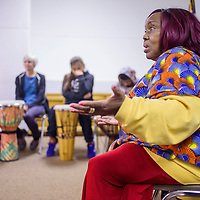 Camilla Dodson tells traditional folktales during a presentation about African music and culture at the Octavia Fellin Public Library in Gallup Tuesday.