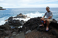 The Big Island landscape is always changing, waves crashing into rocky shores and molten lava pouring into the ocean. The Kalapana Black Sand Beach is no exception, with sandy shores that are continuously shaped as crashing waters erode black lava rock. Across 1/4 mile of rocky terrain formed from a 20th century lava flow, you'll make your way across a path to remote Kaimu beach. At the Kalapana Lava Viewing Area, when the volcano is active, emissions are visible as billows of smoke rise above the ocean.