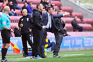 Southend United Manager Phil Brown shouts instructions. Skybet football league one match , Wigan Athletic v Southend Utd at the DW Stadium in Wigan, Lancs on Saturday 23rd April 2016.<br /> pic by Chris Stading, Andrew Orchard sports photography.