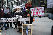 "Protest for Fernando Montero outside his old workplace. London, UK. On 17th December 2015, Fernando Montero died following a heart attack. For the last 5 years he was employed as a cleaner by outsourcing giant Servest at the Willis Building, in the City. During this time, he was victim of a destructive workplace culture. His supervisors repeatedly shouted at him in public, refused him the right to use the toilet outside of break time, and failed to grant him annual leave. On the day of his death, Fernando called a friend in a state of distress. Too anxious to return to work, due to the treatment of himself and fellow workers. A few hours later, he was dead. For his wife Francia, the link between workplace stress and his death is straightforward: ""He passed away of a heart attack because of the stress brought about by the abuse and bullying of his bosses."""