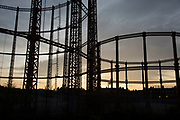 Sunset on Regents Canal in East London, England, United Kingdom. Victorian gas  holders or gas towers rise majestically above the canal in Hackney. (photo by Mike Kemp/In Pictures via Getty Images)