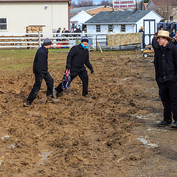 Bart, PA, USA - March 3, 2018: The muddy fields at the annual Mud Sale at the Bart Fire Company.