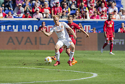 September 30, 2018 - Harrison, New Jersey, United States - Marc Rzatkowski (90) of Red Bulls & Jeff Larentowicz (18) of Atlanta United FC fight for ball during regular MLS game at Red Bull Arena Red Bulls won 2 - 0  (Credit Image: © Lev Radin/Pacific Press via ZUMA Wire)