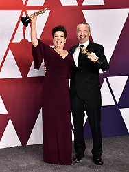 Nina Hartstone and John Warhurst with the award for Best Sound Editing for Bohemian Rhapsody in the press room at the 91st Academy Awards held at the Dolby Theatre in Hollywood, Los Angeles, USA.