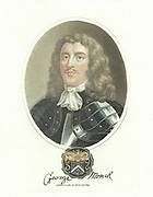 George Monk (or Monck)  Ist Duke of Albermarle (160816-70)  English soldier. Supported Commonwealth cause in English Civil Wars from 1644, but was instrumental in restoration of Charles II in 1660.  Hand-coloured stipple engraving 1817.