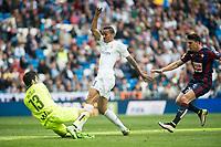Real Madrid's Danilo da Silva and Sociedad Deportiva Eibar's Asier Riesgo and Ander Capa during La Liga match. April 09, 2016. (ALTERPHOTOS/Borja B.Hojas)