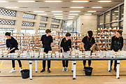 Clare Twomey (2nd L) with FACTORY: the seen and the unseen - an installation in the form of a ceramics factory, by artist Clare Twomey. It is set up in the Blavatnik Building of the Tate Modern and launches the second year of Tate Exchange which, over 2017 and 2018, will focus on the theme of production.