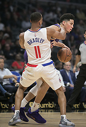 November 28, 2018 - Los Angeles, California, U.S - Devin Booker #1 of the Phoenix Suns goes fouls Avery Bradley #11 of the Los Angeles Clippers during their NBA game on Wednesday November 28, 2018 at the Staples Center in Los Angeles, California. Clippers vs Suns. (Credit Image: © Prensa Internacional via ZUMA Wire)