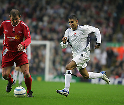 LIVERPOOL, ENGLAND - SUNDAY MARCH 27th 2005: Celebrity XI's Amir Khan in action during the Tsunami Soccer Aid match at Anfield. (Pic by David Rawcliffe/Propaganda)