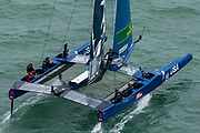 SailGP team USA helmed by Rome Kirby practice manouvers ahead of the practice race session. Event 4 Season 1 SailGP event in Cowes, Isle of Wight, England, United Kingdom. 8 August 2019: Photo Chris Cameron for SailGP. Handout image supplied by SailGP