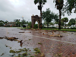 Debris from Hurricane Matthew covers the street on Oct. 7, 2016 in Sanford, Fla. Photo by Kayla O'Brien/Orlando Sentinel/TNS/ABACAPRESS.COM