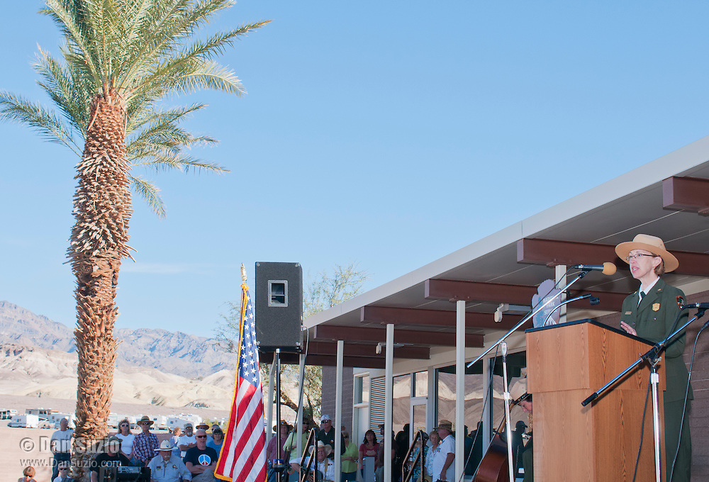 Park Superintendent Sarah Craighead welcomes visitors to the Grand Re-Opening of the Furnace Creek Visitor Center in Death Valley National Park, California, on November 4, 2012.