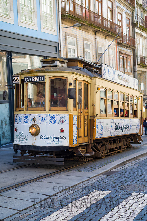 One of the decorative historic trams decorated trams - Electrico -  (to Carmo) in Porto, Portugal