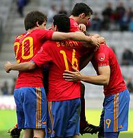 Fotball<br /> Spania v Saudi Arabia<br /> Innsbruck Østerrike<br /> Foto: Gepa/Digitalsport<br /> NORWAY ONLY<br /> <br /> FIFA Weltmeisterschaft 2010 in Suedafrika, Vorberichte, Vorbereitung, Vorbereitungsspiel, Freundschaftsspiel, Laenderspiel, Spanien vs Saudi Arabien. <br /> <br /> Bild zeigt den Jubel von Rodriguez, Sergio Busquets und Fernando Llorente (ESP).