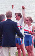 Tampere Kaukajaervi,  FINLAND.   Women's Lightweight  Pair. Left Silver medalist,  GBRLW2- Alison BROWNLESS, Jane HALL<br /> Right Bronze Medalist.  Awards Dock. 1995 World Rowing Championships - Lake Tampere, 08.1995<br /> [Mandatory Credit; Peter Spurrier/Intersport-images] Re-Edited and file ref No. updated, 16th January 2021.