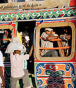 Riding the bus in the morning, Port-Au-Prince, Haiti