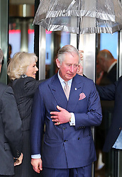 The Prince of Wales and the Duchess of Cornwall  leaving the  BBC at New Broadcasting House in London, Tuesday, 11th February 2014. Picture by Stephen Lock / i-Images
