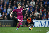 Kevin De Bruyne of Manchester city scores his teams 1st goal from a free-kick. The Emirates FA Cup, 4th round match, Cardiff city v Manchester City at the Cardiff City Stadium in Cardiff, South Wales on Saturday 28th January 2018.<br /> pic by Andrew Orchard, Andrew Orchard sports photography.