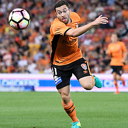 BRISBANE, AUSTRALIA - OCTOBER 30: Tommy Oar of the Roar chases the ball during the round 5 Hyundai A-League match between the Brisbane Roar and Melbourne City at Suncorp Stadium on November 4, 2016 in Brisbane, Australia. (Photo by Patrick Kearney/Brisbane Roar)