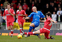 Photo: Alan Crowhurst.<br />Swindon Town v Macclesfield Town. Coca Cola League 2. 27/01/2007. Macclesfield's Nathan D'Laryea (L) challenges with Michael Timlin.