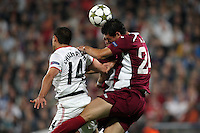 Ionut Rada (R) of CFR Cluj challenges Javier Hernandez (L) of Manchester United during the UEFA Champions League, Group H, soccer match at Dr. Constantin Radulescu Stadium in Cluj-Napoca, Romania, 2 October 2012.