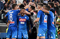 Esultanza Gol Kalidou Koulibaly Napoli. Goal celebration with Lorenzo Insigne screaming <br /> Torino 22-04-2018 Allianz Stadium Football Calcio Serie A 2017/2018 Juventus - Napoli Foto Andrea Staccioli / Insidefoto