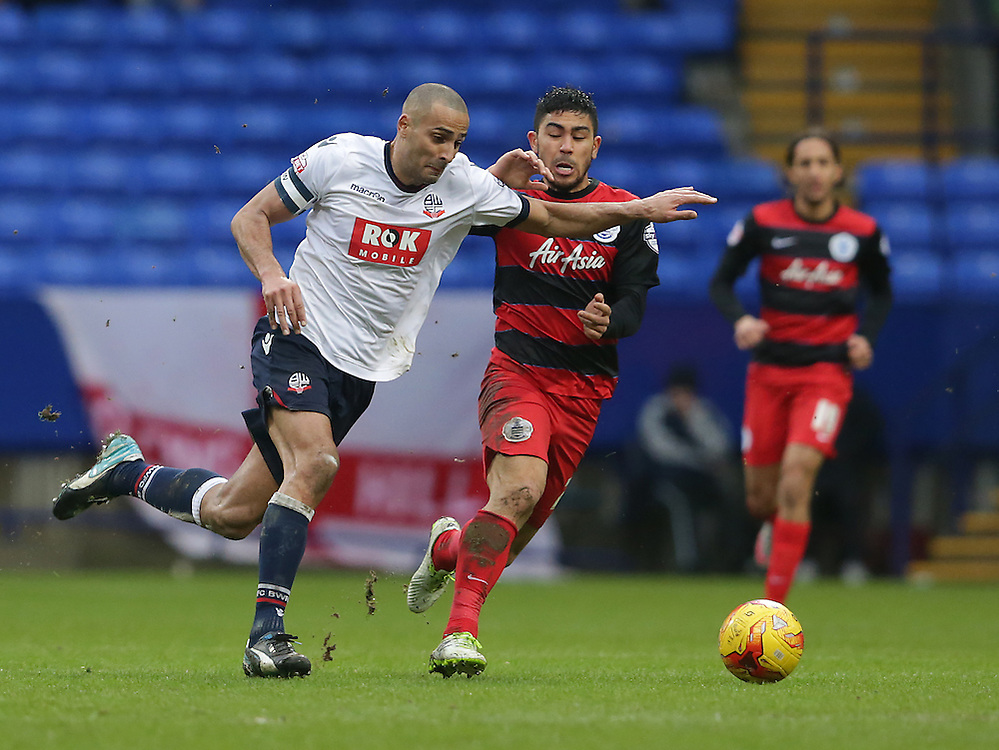 Bolton Wanderers' Darren Pratley and Queens Park Rangers' Massimo Luongo<br /> <br /> Photographer Stephen White/CameraSport<br /> <br /> Football - The Football League Sky Bet Championship - Bolton Wanderers v Queens Park Rangers - Saturday 20th February 2016 - Macron Stadium - Bolton <br /> <br /> © CameraSport - 43 Linden Ave. Countesthorpe. Leicester. England. LE8 5PG - Tel: +44 (0) 116 277 4147 - admin@camerasport.com - www.camerasport.com