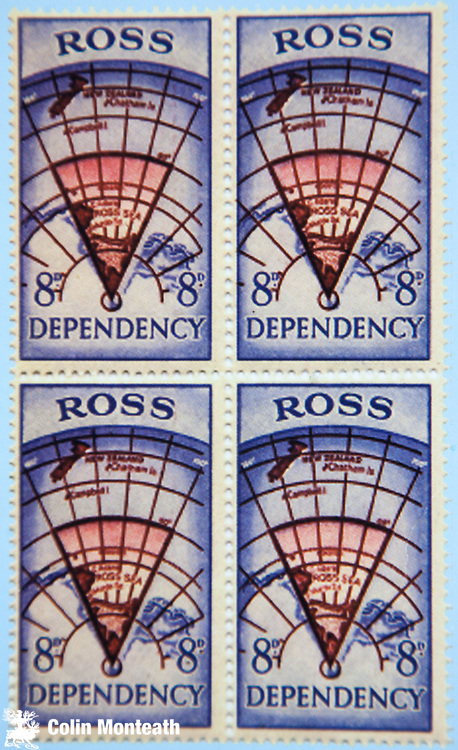 Ross Dependency stamp, one of four different stamps first issued in 1957 and sold at New Zealand's Scott Base, Ross Island - shows the Ross Sea sector of Antarctica administered by New Zealand since 1923