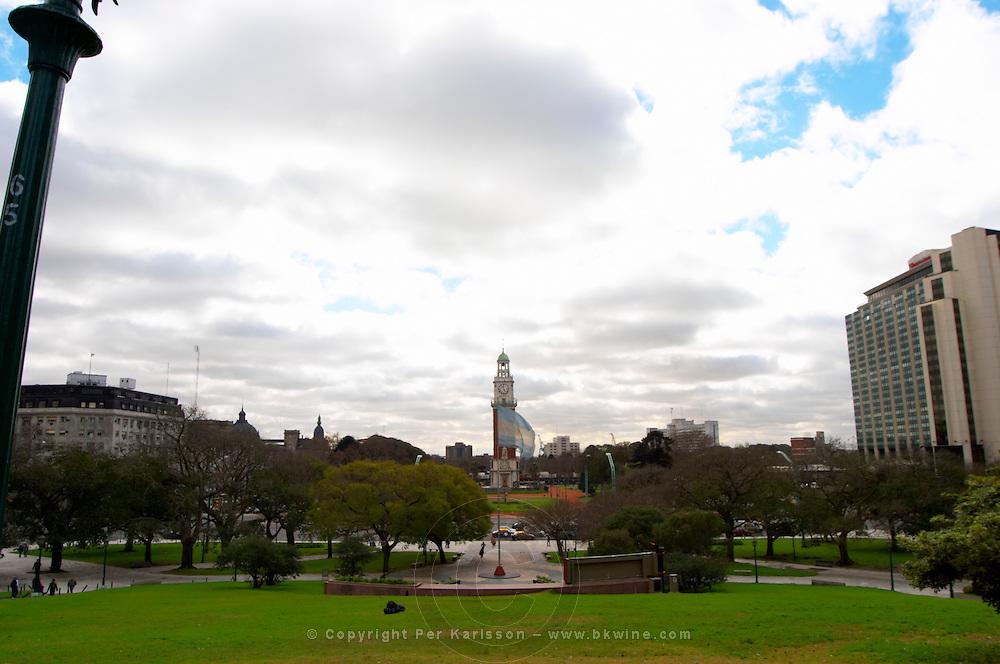 the Plaza San Martin Square renamed Plaza de la Fuerza Aerea or Plaza Fuerza Retiro, view over the torre de los Ingleses renamed torre monumental, the Englishmen's tower, and hotel Hilton. Buenos Aires Argentina, South America