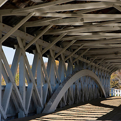 The covered bridge over the Upper Ammonoosuc River in Groveton, New Hampshire.
