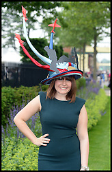 Joely Chilcott wears a help for Heros hat at  Ladies Day at Royal Ascot 2013 Ascot, United Kingdom,<br /> Thursday, 20th June 2013<br /> Picture by Andrew Parsons / i-Images