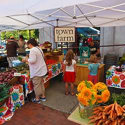Town Farm booth (owned by Ben James) at the Tuesday Market farmer's market in Northampton, Massachusetts.