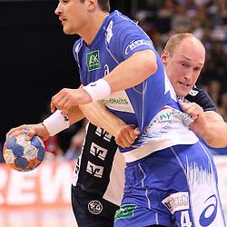 Hamburg, 24.05.2015, Sport, Handball, DKB Handball Bundesliga, HSV Handball - SG Flensburg-Handewitt : Alexandru Simicu (HSV Handball, #04), Johan Jakobsson (SG Flensburg-Handewitt, #19)<br /> <br /> Foto © P-I-X.org *** Foto ist honorarpflichtig! *** Auf Anfrage in hoeherer Qualitaet/Aufloesung. Belegexemplar erbeten. Veroeffentlichung ausschliesslich fuer journalistisch-publizistische Zwecke. For editorial use only.