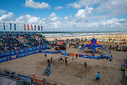Centercourt during the final women. The Final Day of the DELA NK Beach volleyball for men and women will be played in The Hague Beach Stadium on the beach of Scheveningen on 23 July 2020 in Zaandam.