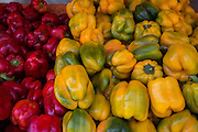 Yellow and red Bell peppers stack on a market stall