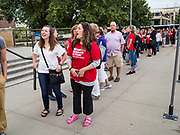 10 AUGUST 2019 - DES MOINES, IOWA: People wait in line to get into the Presidential Gun Sense Forum. Several thousand people from as far away as Milwaukee, WI, and Chicago, came to Des Moines Saturday for the Presidential Gun Sense Forum. Most of the Democratic candidates for president attended the event, which was organized by Moms Demand Action, Every Town for Gun Safety, and Students Demand Action.          PHOTO BY JACK KURTZ