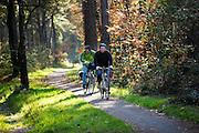 Bij Woudenberg genieten fietsers in het bos van het mooie herfstweer.<br /> <br /> Cyclists enjoy the beautiful autumn weather in the woods near Woudenberg.
