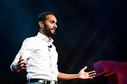 Saketaram Soussilane speaks during the TEDxWanChai event Emergence on Jun 2, 2018, in Hong Kong. / Moses Ng / MozImages