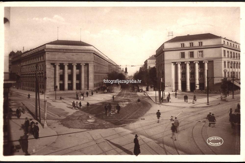 Zagreb : Ulica Račkog. Burza. Dom inženjera i arhitekta = Rue Rački. La Bourse. Palais d Ingénieurs et d'Architectes. <br /> <br /> ImpresumS. l. : S. n., [1930].<br /> Materijalni opis1 razglednica : tisak ; 9 x 14 cm.<br /> Vrstavizualna građa • razglednice<br /> ZbirkaGrafička zbirka NSK • Zbirka razglednica<br /> Formatimage/jpeg<br /> PredmetZagreb –– Trg hrvatskih velikana<br /> SignaturaRZG-THVEL-9<br /> Obuhvat(vremenski)20. stoljeće<br /> NapomenaRazglednica je putovala 1930. godine.<br /> PravaJavno dobro<br /> Identifikatori000954406<br /> NBN.HRNBN: urn:nbn:hr:238:596862 <br /> <br /> Izvor: Digitalne zbirke Nacionalne i sveučilišne knjižnice u Zagrebu