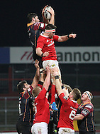 Cory Hills of the Dragons wins the ball in the line out from Billy Holland of Munster.<br /> Guinness Pro12 rugby match, Munster v Newport Gwent Dragons at Thomond Park in Limerick , Ireland on Saturday 5th March 2016.<br /> pic by  John Halas, Andrew Orchard sports photography.