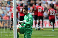Lukasz Fabianski, the Swansea city goalkeeper looks dejected after Manchester Utd score their 1st goal, scored by Eric Bailly. .  Premier league match, Swansea city v Manchester Utd at the Liberty Stadium in Swansea, South Wales on Saturday 19th August 2017.<br /> pic by  Andrew Orchard, Andrew Orchard sports photography.