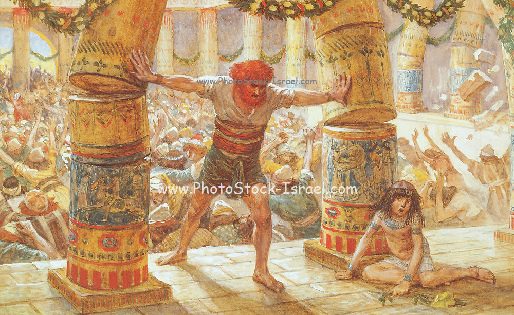 SAMSON PUTS DOWN THE PILLARS. Judges. xvi.29. And Samson took hold of the two middle pillars upon which the house stood, and on which it was borne up, of the one with his right hand, and of the other with his left. From the book ' The Old Testament : three hundred and ninety-six compositions illustrating the Old Testament ' Part II by J. James Tissot Published by M. de Brunoff in Paris, London and New York in 1904