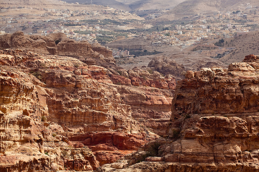 View of Wadi Musa from the cliffs of Petra, Jordan.