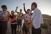 Het HPT feliciteert Sebastiaan Bowier met zijn snelle race op de derde racedag van het WHPSC. In de buurt van Battle Mountain, Nevada, strijden van 10 tot en met 15 september 2012 verschillende teams om het wereldrecord fietsen tijdens de World Human Powered Speed Challenge. Het huidige record is 133 km/h.<br /> <br /> The HPT congratulate Sebastiaan Bowier with his ride on the third day of the WHPSC. Near Battle Mountain, Nevada, several teams are trying to set a new world record cycling at the World Human Powered Speed Challenge from Sept. 10th till Sept. 15th. The current record is 133 km/h.