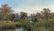 Hastings-on-Hudson', 1885. Oil on canvas:  Jasper Cropsey (1823-1900) American Painter and Architect, Hudson River School.Sparsely wooded landscape with river running through the centre, cattle grazing  on left.