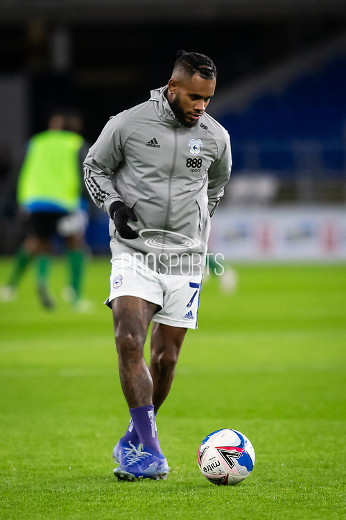 Cardiff City's Leandro Bacuna (7) during the pre-match warm-up at the EFL Sky Bet Championship match between Cardiff City and Birmingham City at the Cardiff City Stadium, Cardiff, Wales on 16 December 2020.