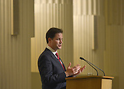 © Licensed to London News Pictures. 18/02/2013. City of London, UK Deputy Prime Minister Nick Clegg gives a speech at Mansion House on decentralisation. It is the inaugural speech of the annual slot, reserved for the Deputy Prime Minister, to reflect the realities of Coalition. Photo credit : Stephen Simpson/LNP