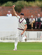 Wicket - Craig Overton of Somerset celebrates taking the catch to dismiss Sam Robson of Middlesex off the bowling of Jack Leach of Somerset during the Specsavers County Champ Div 1 match between Somerset County Cricket Club and Middlesex County Cricket Club at the Cooper Associates County Ground, Taunton, United Kingdom on 27 September 2017. Photo by Graham Hunt.