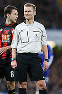 Referee Michael Jones looking on. Barclays Premier league match, Chelsea v AFC Bournemouth at Stamford Bridge in London on Saturday 5th December 2015.<br /> pic by John Patrick Fletcher, Andrew Orchard sports photography.